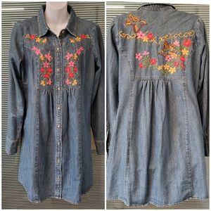 Ivy Jane Embroidered Boho Denim Dress